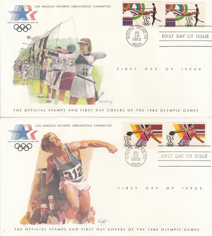 USA - 1984 Olympic games , FDC Discus throwing and archery (1326)