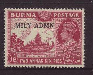 1945 Burma 2 Annas 6 Pies Optd Mily Admn Mounted Mint SG42
