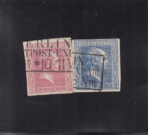 Prussia: Sc #3 & 4, Imperf, Used (S18168)