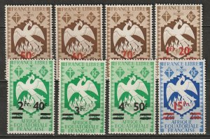 French Equatorial Africa 1945 Sc 158-65 set MH*