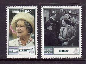 Kiribati-Sc#555-6-Unused NH set-Queen Mother-90th Birthday-1990-