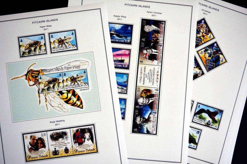 COLOR PRINTED PITCAIRN ISLANDS 2011-2018 STAMP ALBUM PAGES (33 illustr. pages)