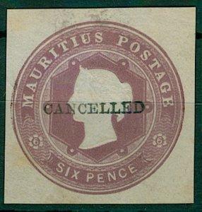 Mauritius QV 6d postal stationery cut out (1v) FU Stamp