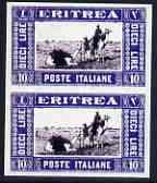 Eritrea 1930 Camel Transport 10L imperf pair being a 'Hia...