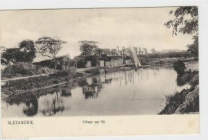 VINTAGE POST CARD , ALEXANDRIA , VILLAGE ON THE NILE   REF P8