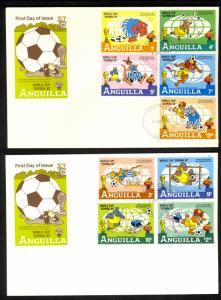 ANGUILLA 1982 DISNEY WORLD CUP SOCCER ESPANA Set on 2 Cachet FDCs Sc 492-500