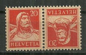 1924 Switzerland 20F William Tell Tête-bêche pair MNH