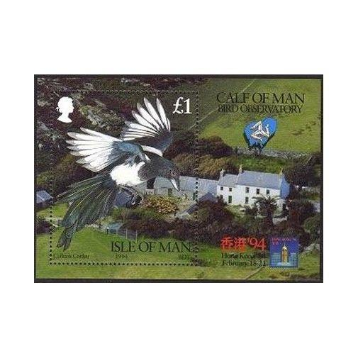 Isle of Man 593,MNH.Mi Bl.19. HONG KONG-1994.Magpie,Calf of Man Bird Observatory