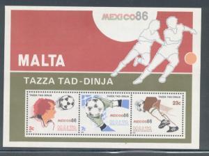 Malta Sc 681a 1986 Soccer World Cup stamp souvenir mint NH
