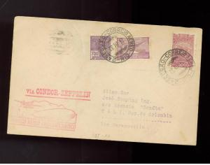 1932 Brazil Graf Zeppelin cover to Colombia SCADTA rep