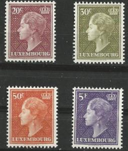Luxembourg # 337-40  Grand Duchess Charlotte  1958  (4)  Unused VLH