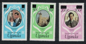 Uganda Charles and Diana Royal Wedding 3v overprinted SG#341e-343e