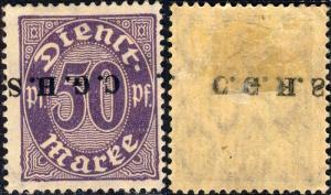 HAUTE SILÉSIE / OBERSCHLESIEN Dienstmarken Mi.14.IV O/P offset & inverted -Mint*