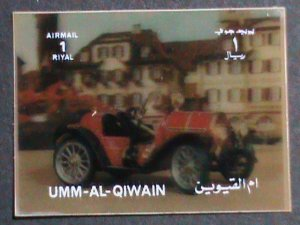 QIWAIN STAMP - LOVELY CLASSIC ANTIQUE CAR- AIRMAIL 3-D STAMP MNH #2