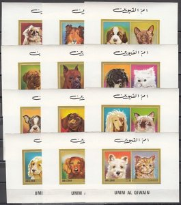 Umm Al Qiwain, Mi cat. 662-673 C. Cats & Dogs issue as Deluxe s/sheets.