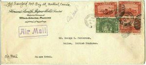 RARE DOUBLE RATE 35c 1/2 ounce airmail rate to BRITISH HONDURAS cover Canada