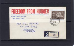 Zanzibar 1963 Sc#280 Freedom From Hunger Registered Letter FDC Postal History
