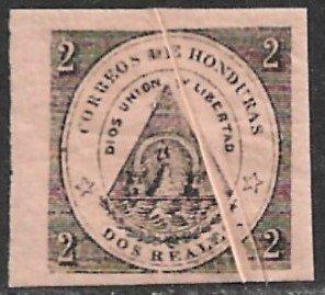 HONDURAS 1865 2r Black on Pink With PRE PRINTING PAPER FOLD Sc 2 MH