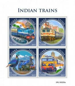Sierra Leone - 2019 Indian Trains - 4 Stamp Sheet - SRL190205a