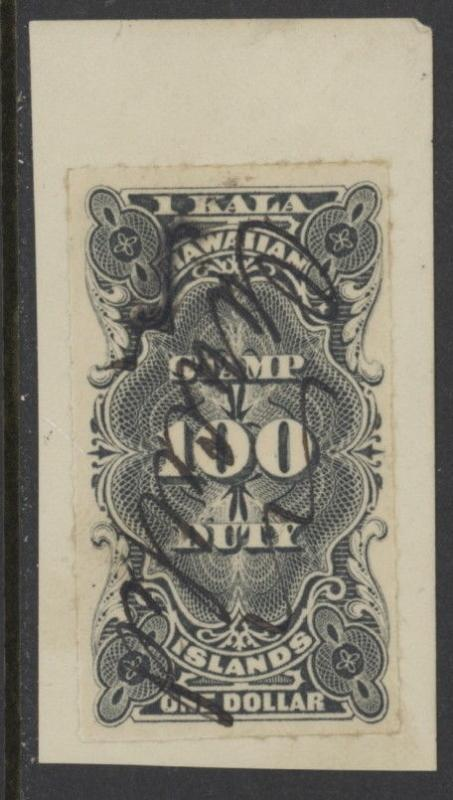 Hawaii R3 used on paper w/pen cancel - 1 dollar revenue stamp