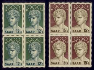 Saar Sc#  B109-10 MNH Summer Olympic Games 1956 (Blocks of 4)