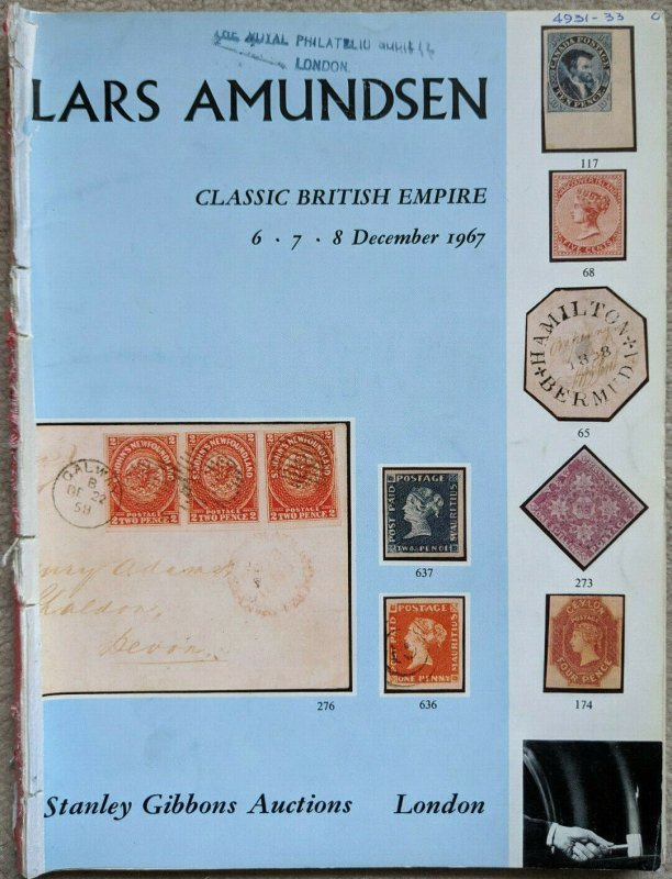 Auction Catalogue LARS AMUNDSEN CLASSIC BRITISH EMPIRE Stanley Gibbons 1967