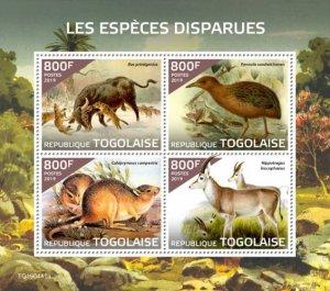 TOGO - 2019 - Extinct Species - Perf 4v Sheet  - M N H