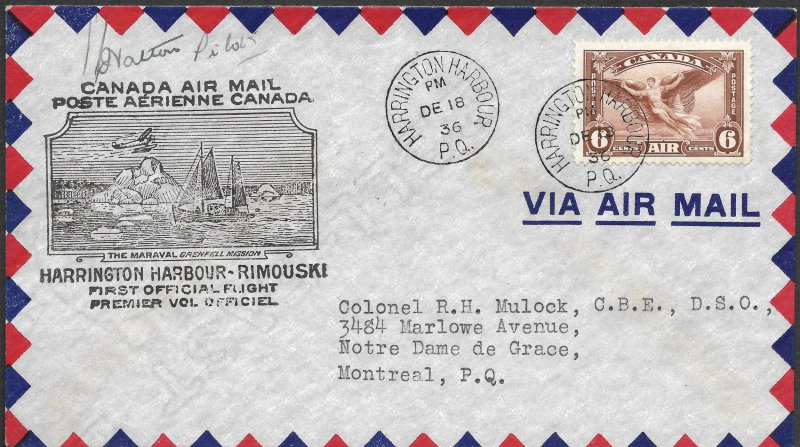 Doyle's_Stamps: Postal History: Harrington Harbor-Rimouski 1st Flt w/Pilot Signa