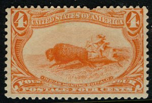 US #287 SCV $100.00 F/VF mint hinged, very bright color,  The color just jump...