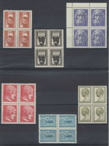 GREECE 1954-55 Sc 556-558, 560 ,562, 564 & 575-579 BLOCKS OF FOUR MNH SCV$161.40