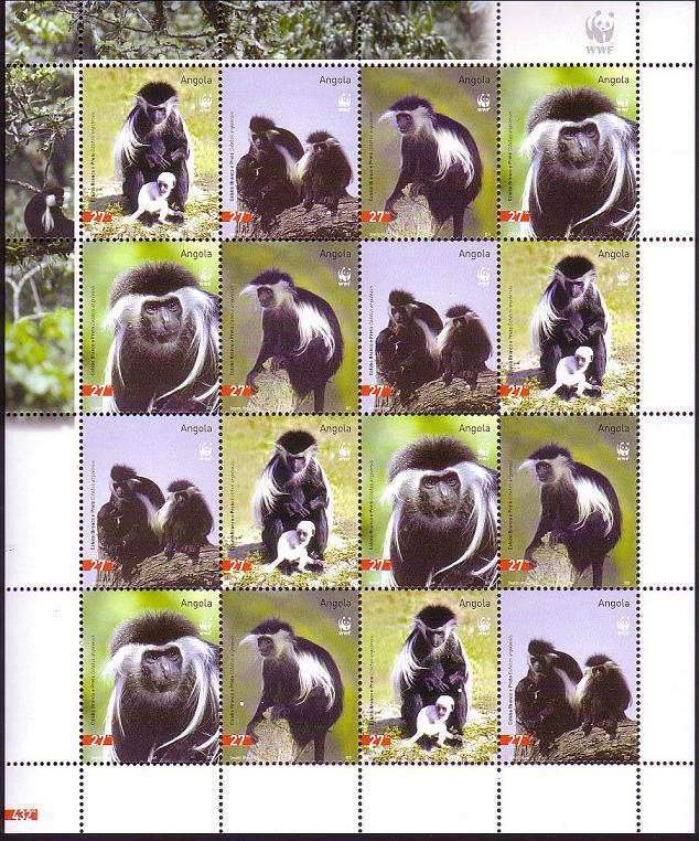 Angola WWF Black-and-white Colobus Sheetlet of 4 sets SG#1717-1720 SC#1279 a-d