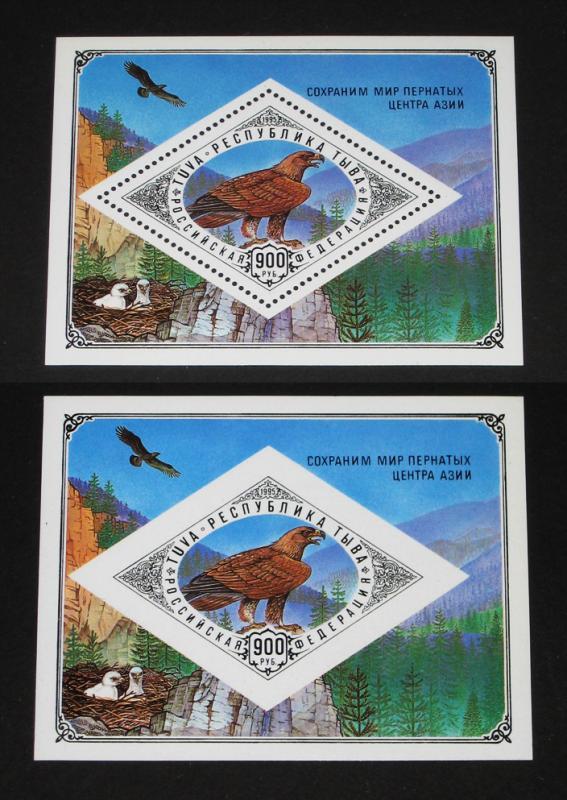 Tuva 1995 Wild Animals Birds of Prey Eagle Fauna 2 S/S Stamps MNH perf & imper