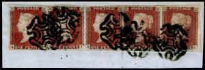 SG8, 1d red-brown PLATE 26, FU. Cat £300+. BLACK MX. STRIP OF 5. ON PIECE.