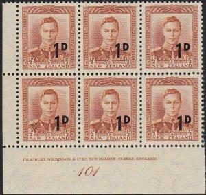 NEW ZEALAND 1953 GVI 1d on ½d plate block 101 - MNH.........................1662