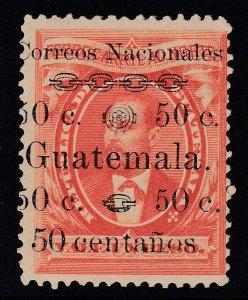 "Guatemala 1886 50c on 1p Vermilion ""centanos"" Variety M Mint. Scott 27b"