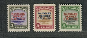 Greenland Sc#19-21 M/H/VF, Signed Stamps, Cv. $225