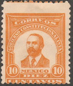 MEXICO 10¢ 1914 MADERO ESSAY RED ORANGE NEVER ISSUED ROUGH RO MINT NH VF.(1124)