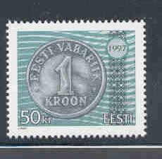 Estonia Sc 327 1997 50 kr coin stamp mint NH