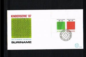 1987 - Rep. Surinam FDC E119A - Childhood - Children stamps - Patterns in int...