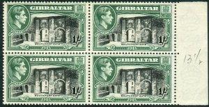 GIBRALTAR-1938-51 1/- Black & Green Perf 13½.  An unmounted mint block of 4