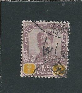 JOHORE 1896-99 $5 DULL PURPLE & YELLOW FU SG 53 CAT £130