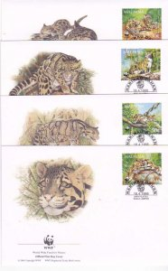 Malaysia 4-FDC'S Clouded Leopards 538-41 1995