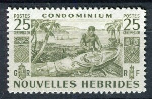 FRENCH; NEW HEBRIDES 1953 early pictorial issue fine Mint hinged 25c. value