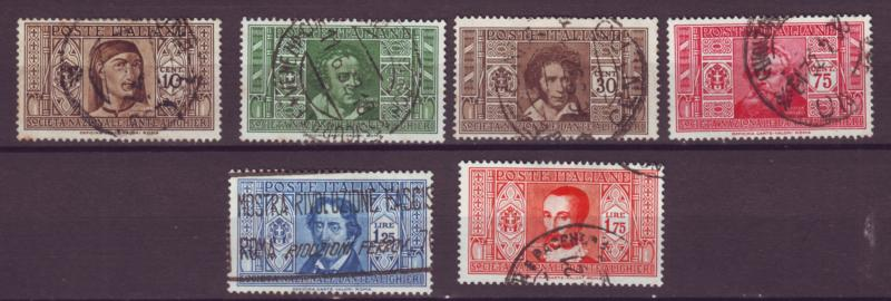 J21480 Jlstamps 1932 italy used #268,271-2,274-6 famous people
