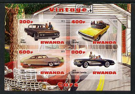 Rwanda 2013 Vintage Cars #1 imperf sheetlet containing 4 ...