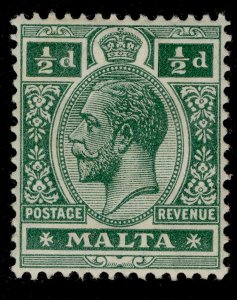 MALTA GV SG71a, ½d deep green, M MINT.