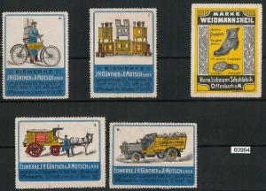 60964 - GERMANY - Set of 3 VINTAGE LABELS Poster Stamps: ADVERTISING Transport