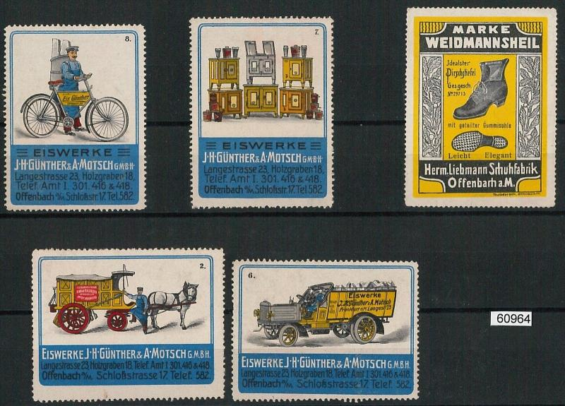 60964 - GERMANY - Set of 3 VINTAGE LABELS Poster Stamps: ADVERTISING Transport