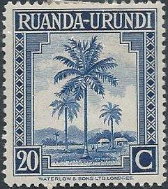 Ruanda-Urundi 71 (mhr) 20c oil palms, dp ultra (1942)
