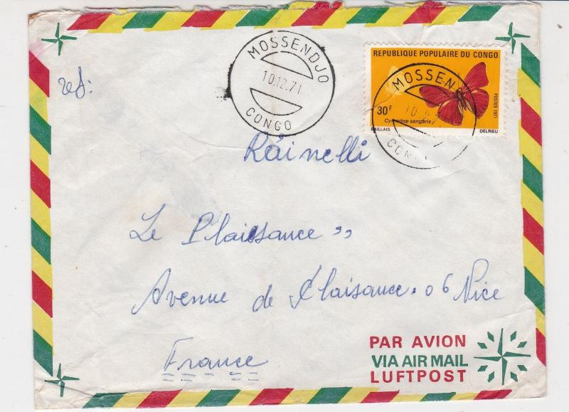 Rep Du Congo 1971 Airmail Mossendjo Cancels Red Butterfly Stamp Cover Ref 30781
